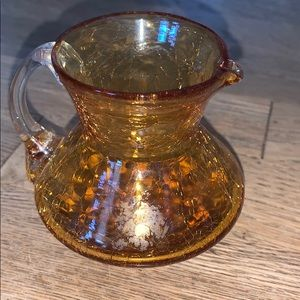 Vintage 1950's Hand Blown Amber Crackle Glass